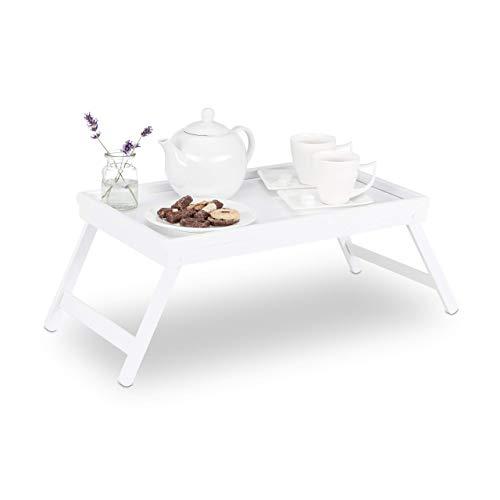 Relaxdays 10023234 Tavolino da Letto in Bambù Gambe Pieghevoli Bordo Rialzato Vassoio da Colazione HLP: 22x64x31 cm Bianco