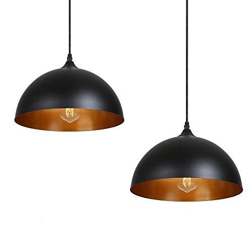 Tomshine - Lampadario con 2 lampade a sospensione in metallo, stile industriale, vintage, diametro 30 cm, colore: nero