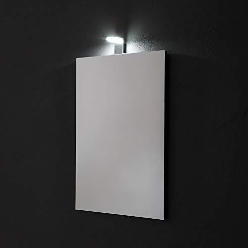 SPECCHIO RETTANGOLARE CM 50X70 REVERSIBILE COMPLETO DI LAMPADA LED