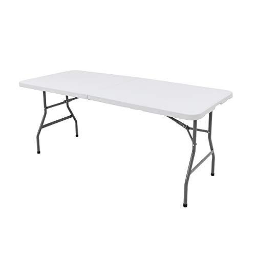 Tavolo Pieghevole, Tavolo da Campeggio, da Giardino Richiudibile e Robusto, con Maniglia Perfetto per le Feste, i Mercatini etc Bianco 180x75x74cm