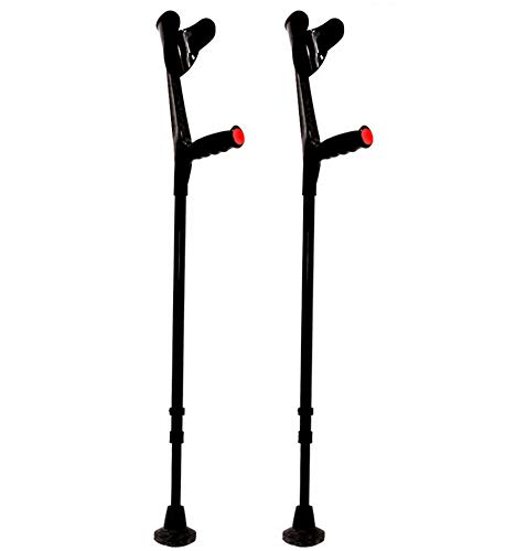 KMINA - Stampelle Ortopediche Regolabili (x2 unità), Stampelle Canadesi, Stampelle Ortopediche, Stampella Ortopedica Regolabile, Stampelle antiscivolo, COMFORT Nero.