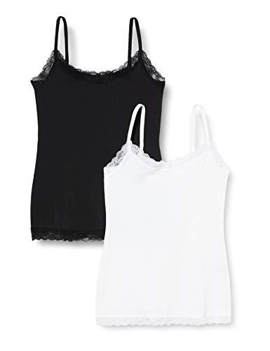 Marchio Amazon - Iris & Lilly Canotta con Pizzo Body Natural Donna, Pacco da 2, Multicolore (White/Black), XS, Label: XS