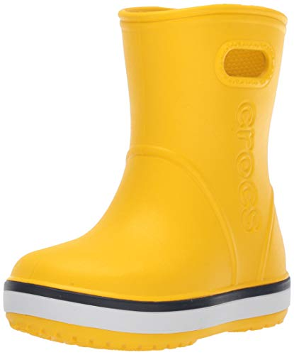 Crocs Crocband Rain Boot K Unisex - Bambini Stivali di gomma, Stivali di gomma, Giallo (Yellow/Navy), 27/28 EU