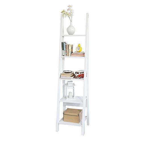 SoBuy Libreria a Scala con 5 Ripiani angolare Scaffale Bagno Bianco (FRG101-W)