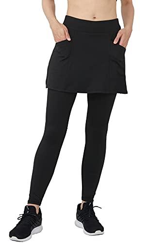 Westkun Donna Gonna Pantalone da Corsa alla Caviglia Sport Yoga Modesta da Tennis y Golf Calzamaglia Gonnapantalone Morbido e Traspirante Leggings 2 in 1(Nero-Gonna Corta,XL)