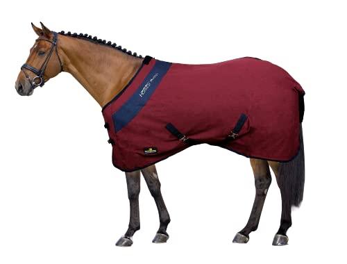 Horses Coperta da Box per Cavallo in Cotone Maddy 2 Model, Leggera e Traspirante per Primavera e Estate, con Cinghie e Copricoda, differenti Colori e taglie (Bordeaux/Blue 135 cm)