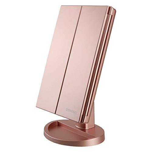 deweisn Specchio Trucco con 21 LEDs, Specchio di Vanity Trifold Ruota di 180° Ingrandimento 1x / 2X / 3X Specchio per Il con Touchscreen per Il Trucco e la Cura della Pelle (Oro Rosa)