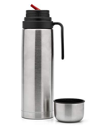 BALIBETOV Thermo per Zucca Yerba Mate - Isolamento Sottovuoto con Doppia Parete in Acciaio Inossidabile - Senza BPA - Thermo Progettato per l'uso con Tazza Mate. (Argento Becco di Mate, 1 L)