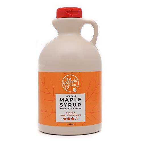 MapleFarm - Puro sciroppo d'acero Canadese. Grado A, Dark - 1 Litro - Pure maple syrup - sciroppo per pancake - sciroppo per waffle - succo acero - sciroppo di acero