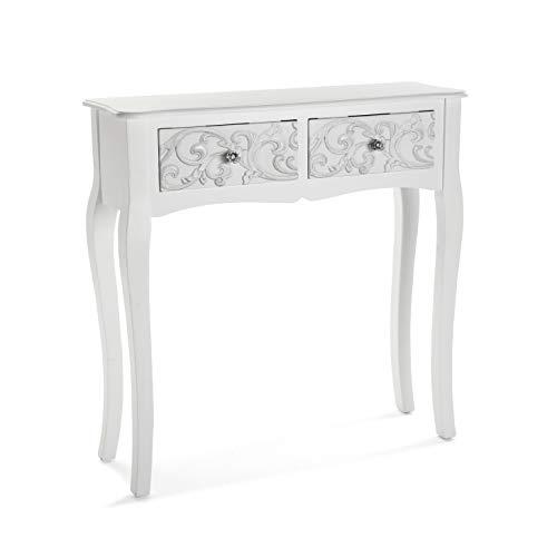 Versa Anjali Tavolo Consolle, Tavolo da Ingresso, Tavolino Stretto, con 2 cassetti, Misure (A x L x l) 80 x 25 x 80 cm, Legno, Colore Bianco