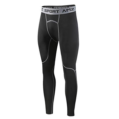AMZSPORT Uomo Leggings da Compressione Pantaloni da Corsa Calzamaglia Sportiva Palestra, Nero Grigio M