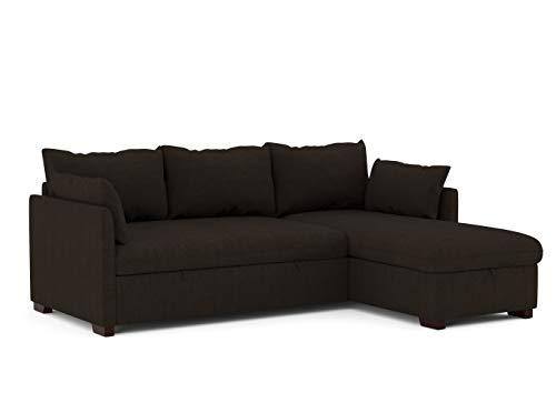 Confort24 Orlando - Divano convertibile ad angolo, letto a cassapanca, reversibile, destro e sinistro, colore: Marrone