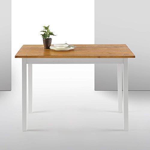 ZINUS Becky 114 cm Tavolo da pranzo in legno | Tavolo da cucina in legno massello in stile rustico da fattoria | Facile da assemblare