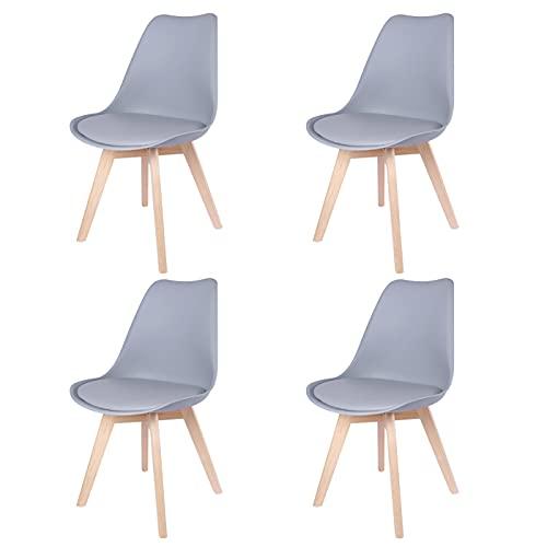 JIJIAN 4 sedie da sala da pranzo minimalista, con gambe in legno, colore nero, bianco e grigio