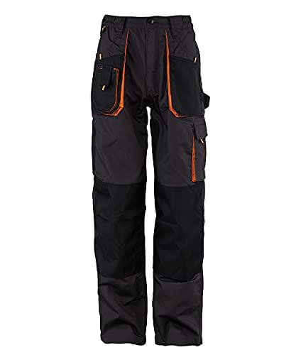 Stenso Emerton - Pantaloni da Lavoro multitasca Extra Resistenti - Uomo - Stile Cargo - Grigio Scuro/Nero/Arancione - 50