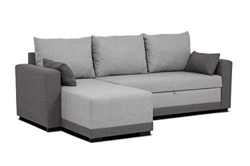 Confort24 - Divano angolare a L, Modello: Leah, in Tessuto, 3 Posti, con Chaise Longue, Angolo a destra/sinistra, Convertibile, Reversibile, per Soggiorno, Decorazione della casa, Colore: Grigio