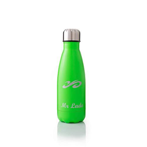 MrLado Borraccia Termica Acciaio Bottiglia Acqua Alluminio Acciaio Inox per Sport e Palestra Borraccia Acciao Bambini Water Bottle Thermos Ideale per Mantenere Fresche Le Bevande (Verde 350ml)