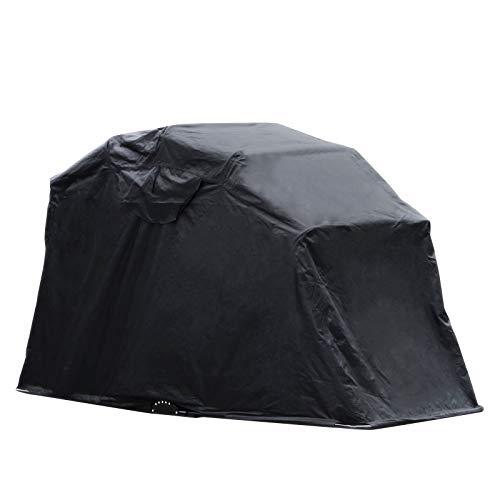 VEVOR Copertura della Moto Impermeabile al 100% e Protezione UV 270 cm x 105 cm x 155 cm, in Tessuto Oxford 600D, Rimessa per Moto, Tenda per Motociclette, Colore Nero, per Posizionare Bicicletta