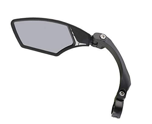 Mirage - Specchietto retrovisore per bicicletta e bici elettrica, con vetro leggermente sfumato, specchio regolabile, con clip, girevole, oscurante, nero, S