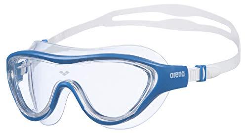 Arena The One Mask Occhialini Nuoto Anti-Appannamento Unisex Adulto, Maschera Piscina con Grandi Lenti, Protezione UV, Ponte Nasale Autoregolante, Guarnizioni Orbit-Proof, Blu (Clear-Blue-White)