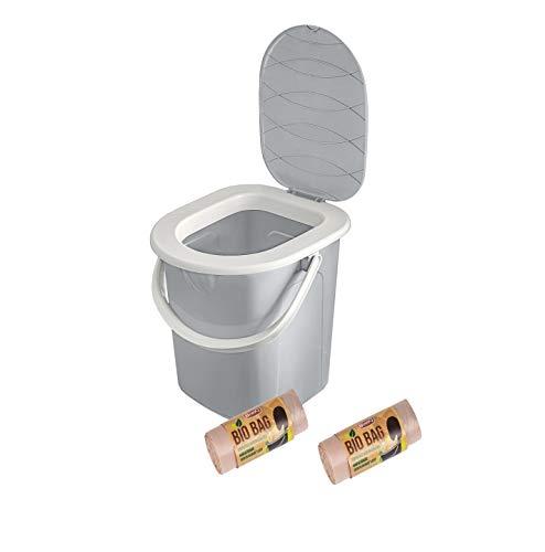 BranQ - Home essential BranQ, toilette da campeggio portatile da 22 l, con 40 sacchetti per WC biologici, in plastica, portata massima fino a 120 kg, grigio chiaro, 22 l, NA