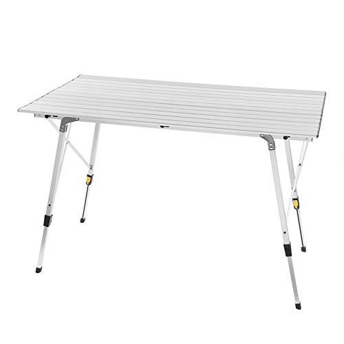 WOLTU CPT8132sb Tavolo da Campeggio Pieghevole Portatile per Picnic Giardino Altezza Regolabile in Alluminio 120x68,5x59/78,5 cm