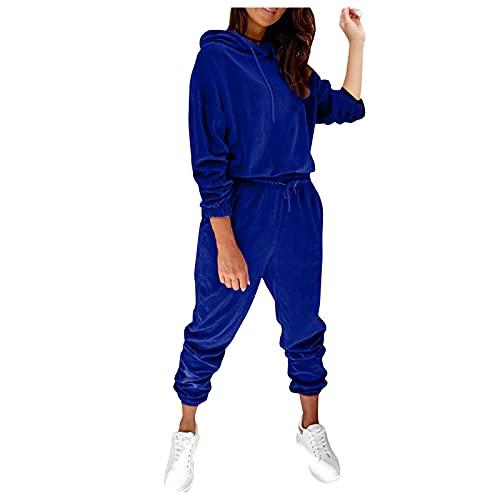 Briskorry Tuta sportiva in pile, da donna, con cappuccio, 2 pezzi, tuta sportiva e felpa con cappuccio, Blu, XXL