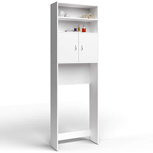 Deuba Mobile per Lavatrice Alto Mobiletto da Bagno Armadio 3 Mensole sopra Toilette 195x63x20cm Bianco