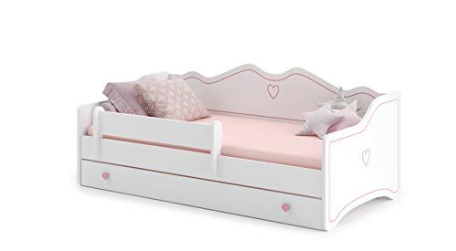 Letto per bambini'Emma' 80x160 con un materasso + telaio + cassetto, bianco
