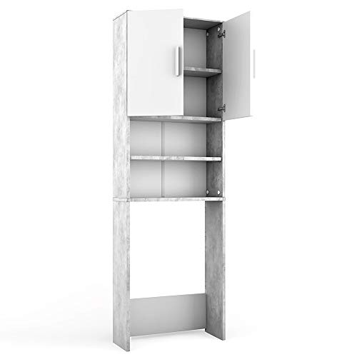 Vicco, armadio per lavatrice, colore cemento, 190 x 64 cm, scaffale per il bagno