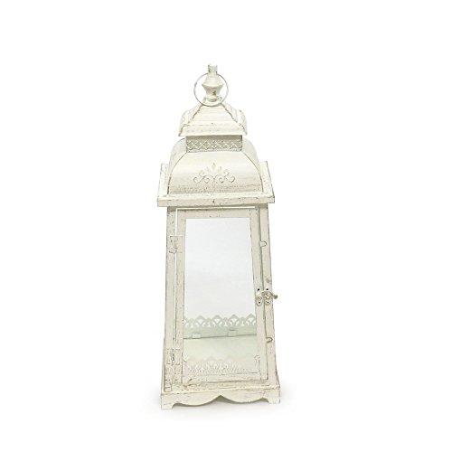 Laterna 'Lugano', colore bianco crema anticato, in metallo, a base esagonale, con decorazioni ornamentali - media