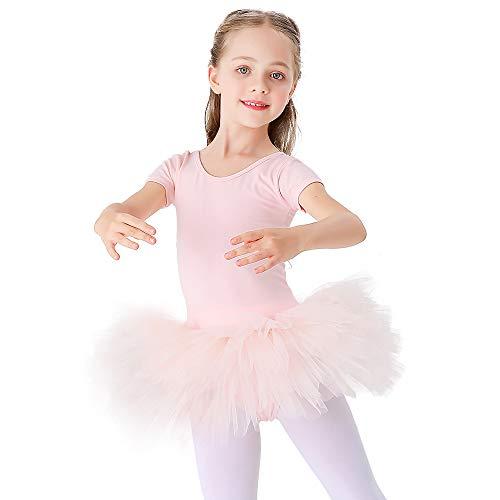 Bezioner Ragazza Tutu per Danza Body da Balletto Leotard Vestito Ginnastica Manica Corta Rosa 100