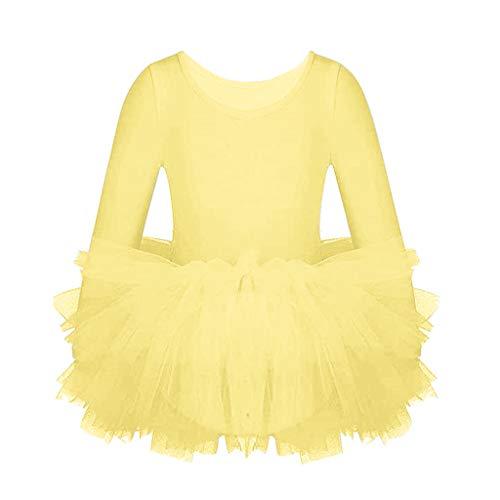 Bambina Balletto Leotard Abito Vestito di Balletto Ragazza Tutu Manica Lunga Abbigliamento da Ginnastica Abiti da Danza Classica Body Usura di Ballo Abiti, 4-5 Anni