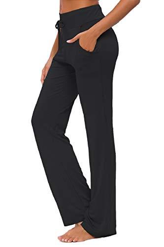 KESSER Pantaloni da Yoga da Donna Larghi Sportivi Abbigliamento Abbigli Sportivo con Tasche a Gamba Casual Corsa Lounge Lavoro Pantalone Pilates (Nero, M)