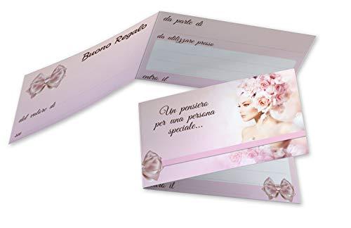 Buoni Regalo Estetista (da 50 a 250 pezzi) Buoni Omaggio Biglietti Pieghevoli Centro Estetico Gift Card Estetica Coupon Massaggi Cartoncino da Compilare Offerta Sconto Clienti (100)