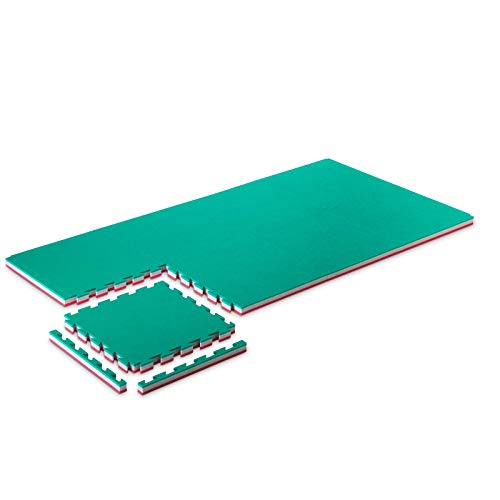 ProGame Kit 8 Pezzi Tatami Palestra 4 cm Performance-Home Verde/Rosso 50x50 cm Tatami Judo Materassino - Made in Italy