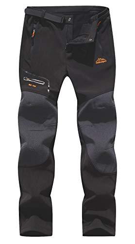 BenBoy Pantaloni Trekking Uomo Invernali Impermeabile Pantaloni da Sci Neve Arrampicata Escursionismo Caldo Pantaloni Softshell Outdoor (L, Nero)