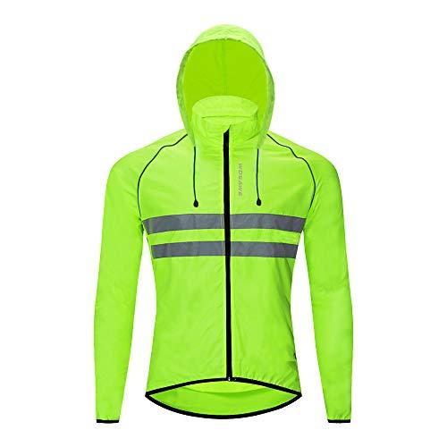 WOSAWE Giacche con cappuccio Uomo Ciclismo Leggero Impermeabile Moto Vento Cappotto Riflettente Corsa Alpinismo Abbigliamento Sportivo(Verde L)