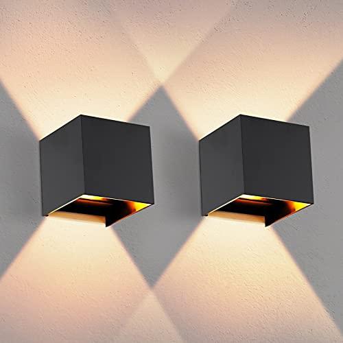 OOWOLF Lampada a Parete Esterno IP65 2 Pezzi LED Impermeabile, Applique da Parete G9 Lampadina Sostituibile 3000K Bianco Caldo per Esterno ed Interno, Portico, Bagno, Corridoio,Balcone (Nero)