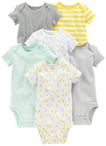 Simple Joys by Carter's Baby - Body a maniche corte, confezione da 6 ,Gray/Yellow ,6-9 Months
