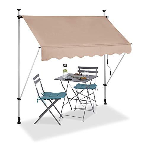 Relaxdays Tenda da Sole, Protezione per Il Balcone, Regolabile, Senza Forare, a Manovella, 200 cm di Larghezza, Beige, 200 x 120 cm