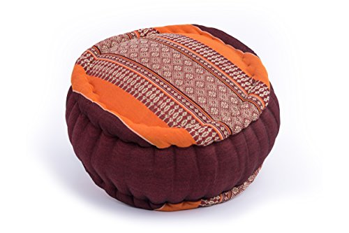 Handelsturm Cuscino Zafu per la Meditazione, 34x15 cm Circolare, Arancio-Marrone
