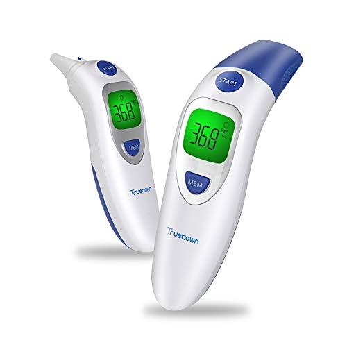 Trustown Termometro Medico per la Fronte e per Orecchio, 4 in 1 Multifunzionale, 20 Richiamo della Memoria, Avviso Tricolore per la Febbre, Ideale per Neonati,Bambini e Adulti