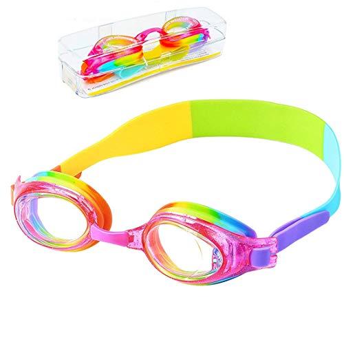 iToobe - Occhialini da nuoto per bambini da 3 a 14 anni, anti-appannamento, protezione UV, senza perdite, in morbido silicone, con custodia protettiva inclusa (Rainbow)