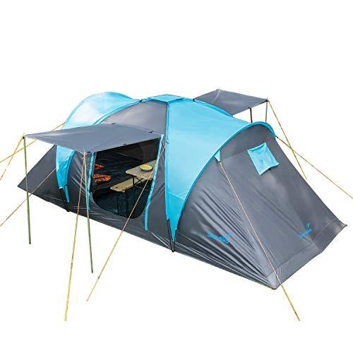 Skandika Hammerfest 4 persone - Tenda de campeggio familiare - zanzariera - 2x cabine da letto (con pavimento cucito)