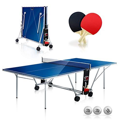 YM Tavolo Ping Pong Interno Pieghevole Indoor Drago - Dimensioni Ufficiali da Torneo 274 x 152,5 x 76 cm - Route per Il Trasporto - Racchette e Palline Omaggio Incluse - Sistema Twin Multi Security