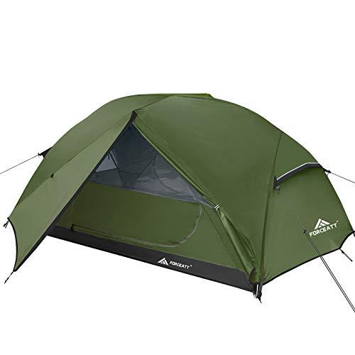 Forceatt Tenda Campeggio per 2-3 Persone, Impermeabile & Antivento 2 Porte Tenda da Campeggio Leggera, Facile da Installare, Ideale per Campeggio e attività All'aperto.