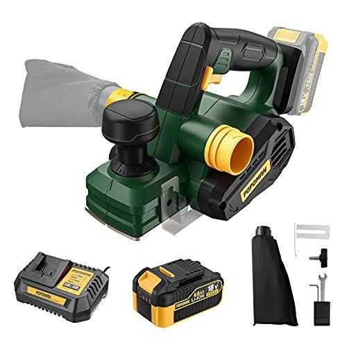 Pialla Elettrica a Batteria 18V POPOMAN, 4.0Ah Batteria e 1H Caricatore Rapido, 12500 RPM Piallatrice, Larghezza di Piallatura da 82mm e Profondità da 1.5mm, Sacchetto per La Polvere - PMPL01D