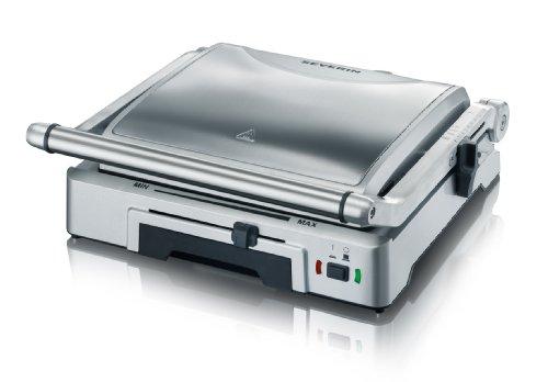 Severin KG 2392 Bistecchiera elettrica, 1800 W, 2 piastre rimovibili e antiaderenti per diversi tipi di cottura, Acciaio inossidabile