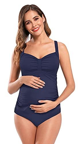 SHEKINI Costumi Interi Premaman Bikini da Bagno maternità Beachwear Plissettato con Scollo a V. Monokini Imbottite da Donna Gravidanza Taglie Forti 3XL (Blu Scuro, XL)